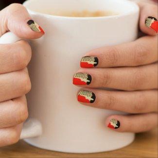 Retro Red Cream Black Floral Minx Nails