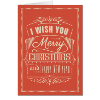 Retro Red & Cream Typographical Christmas 2 Card