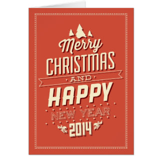 Retro Red & Cream Typographical Christmas Card