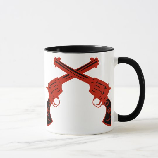 Retro Red Crossed Pistols Mug