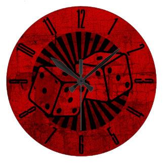 Retro Red Dice Large Clock