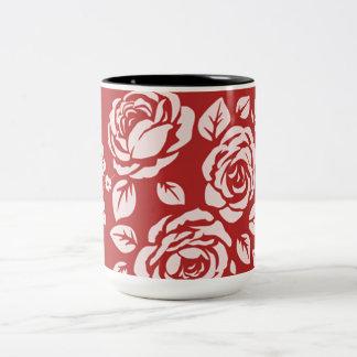 Retro-Red_Floral(c)__Unisex Two-Tone Coffee Mug