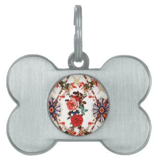 Retro Red Floral Pet Name Tags