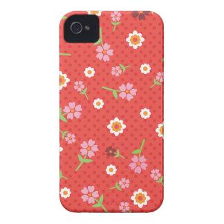 Retro red flower polka dot design blackberry case
