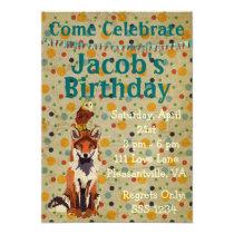 Retro Red Fox & Owl Birthday Invitation
