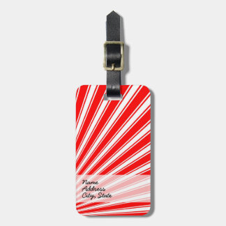 Retro Red Funky Sun Rays Background Bag Tag