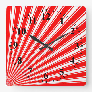 Retro Red Funky Sun Rays Background Square Wallclock