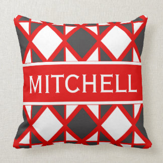 Retro Red Geo Personalized Throw Pillow