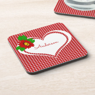 Retro Red Gingham Heart and Flower Personalized Coaster