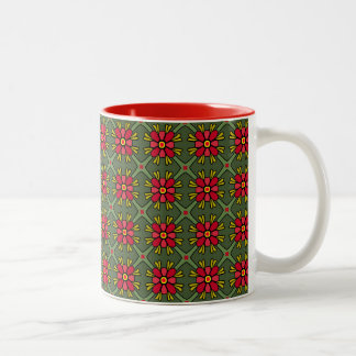Retro Red & Green Floral Geometric Mug