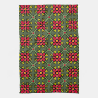 Retro Red & Green Geometric Floral Christmas Hand Towels