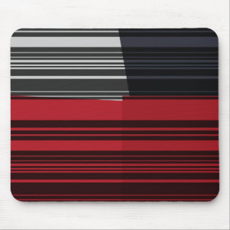 Retro Red, Grey, Black Abstract Art Mouse Pad