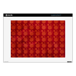 Retro Red Grungy Polka Dots Pattern Skins For Laptops
