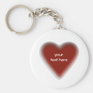 Retro red heart keychain for your text