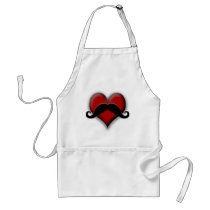 Retro Red Heart Mustache Adult Apron