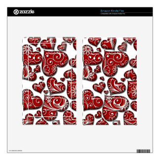 Retro Red Hearts Kindle Fire Decals