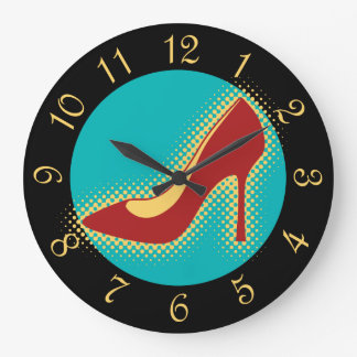 Retro Red High Heel Shoe Large Clock
