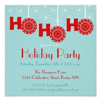 Retro Red Ho Ho Ho Holiday Party Invitation