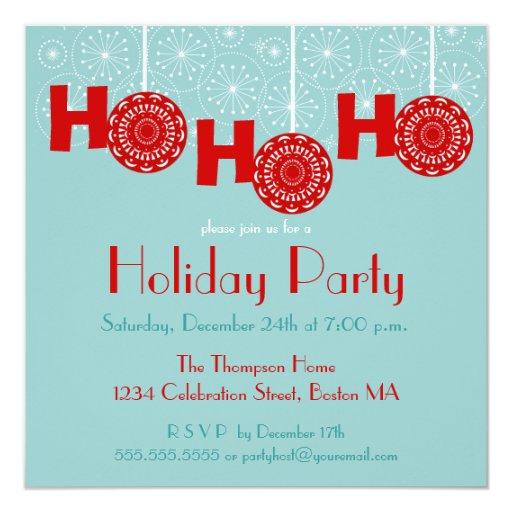 Retro Christmas Party Invitations: Retro Red Ho Ho Ho Holiday Party Invitation