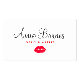 Retro Red Kissing Lips Makeup Artist White Beauty Double-Sided Standard Business Cards (Pack Of 100)