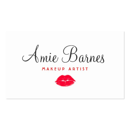 Retro Red Kissing Lips Makeup Artist White Beauty Business Card