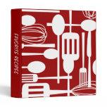 Retro Red Kitchen Cooking Utensils Recipe Binder