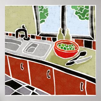 Retro Red Kitchen Poster