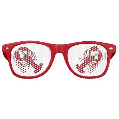 Retro red  lobster rockabilly sunglasses red