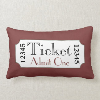 Retro Red Movie Ticket Cinema Pillow
