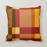 Retro Red Orange Yellow Cream Striped Pattern Pillow