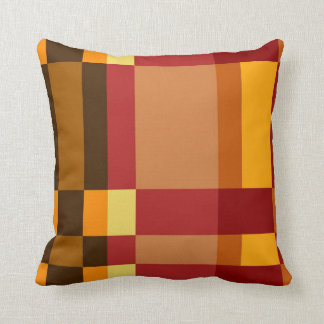 Retro Red Orange Yellow Cream Striped Pattern Throw Pillow