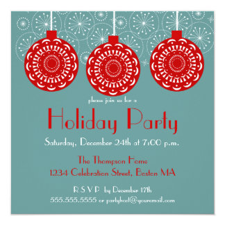 Retro Red Ornament Holiday Party Invitation