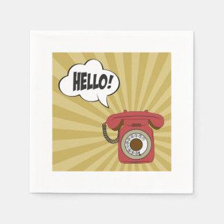 Retro Red Phone Paper Napkins