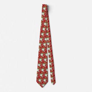 Retro Red Plaid Snowman Tie, Holiday Tie