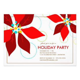 Retro Red Poinsettia Christmas Holiday Party Personalized Announcement