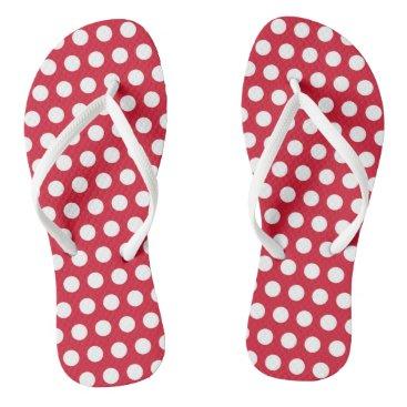 Beach Themed Retro Red Polka Dot Flip Flops Summer Sandals Gift