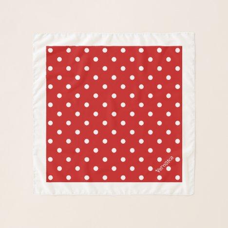 Retro Red Polka Dots Square Neck Hair Chiffon Scarf