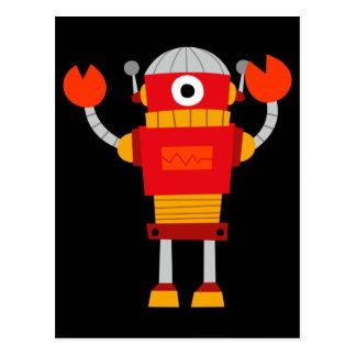 Retro Red Robot Postcard