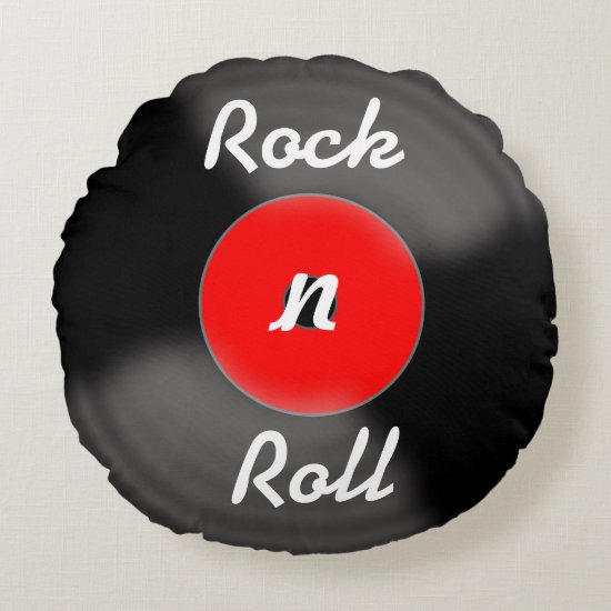 Retro Red Rock N Roll Vinyl Record Pillow