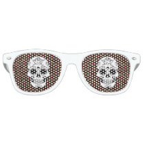 Retro red rockabilly sugar skull sunglasses