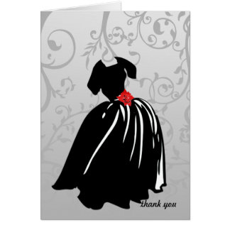 Retro Red Rose Thank You Greeting Cards