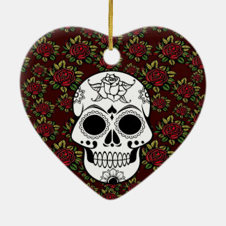 Red Sugar Skull Ornaments & Keepsake Ornaments | Zazzle