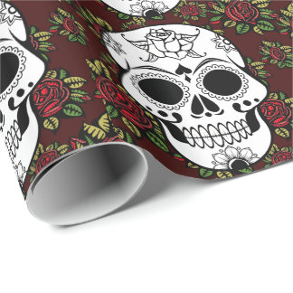 retro red roses Wrapping Paper sugar skull