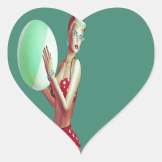 Retro Red spot beach babe Heart Sticker