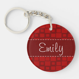 Retro Red Square Pattern Single-Sided Round Acrylic Keychain