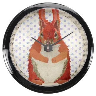 Retro Red Squirrel Clock Aquarium Clock