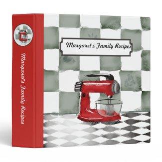 Retro red stand mixer baking recipe cookbook binde binder