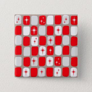 Retro Red Starbursts Square Button