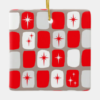 Retro Red Starburts Christmas Ornament