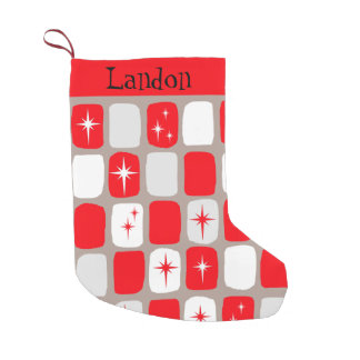 Retro Red Starburts Christmas Stocking